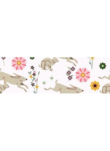 Artikel Çiçek Ve Tavşan Desenli Runner Masa Örtüsü 43,5X141,5Cm Renkli